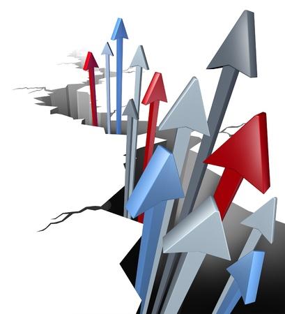 突破と景気回復の戦略を使用して、今後の市場拡大の計画から新たな機会として浮上している地面の亀裂から矢印の付いたビジネスおよび財政の成 写真素材