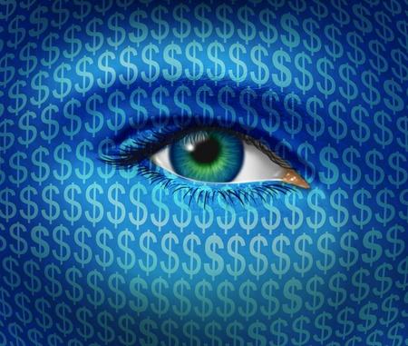 signos de pesos: Reloj de negocios y el concepto de orientaci�n financiera, con un ojo humano y la textura de d�lares signos mirando hacia fuera para las oportunidades de inversi�n con �xito en el mercado de valores y la b�squeda de la creaci�n de riqueza en una econom�a industrial