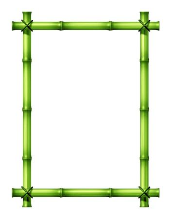 Green Bamboo pega marco en blanco como una exótica decoración de diseño tropical, caliente, elemento climático hecha con palos atados con un cordel en un aislado fondo blanco Foto de archivo - 12882365
