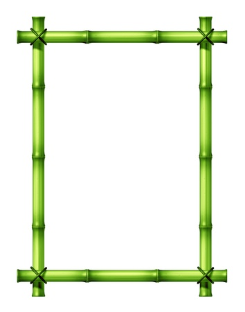 japones bambu: Green Bamboo pega marco en blanco como una ex�tica decoraci�n de dise�o tropical, caliente, elemento clim�tico hecha con palos atados con un cordel en un aislado fondo blanco