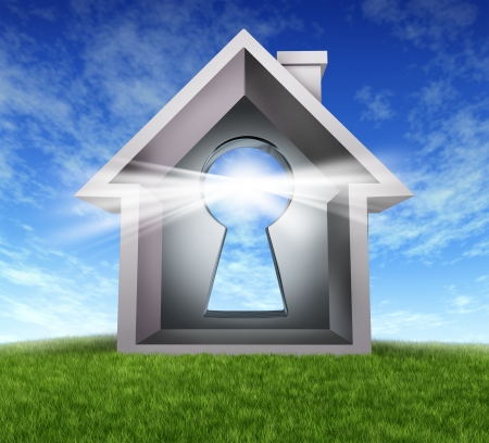 Home Buying and real estate property ownership after the approval of a mortgage application due to a good credit rating with akey hole in a house symbol on a blue sky and grass with glowing light of success