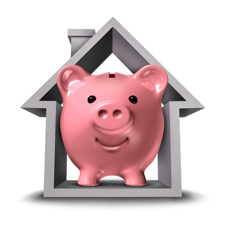 Home finances and real estate finance with a pink ceramic piggy bank in a house structure symbol representing the housing industry mortgage savings plan and residential tax saving strategy or a rental property paying rent  photo