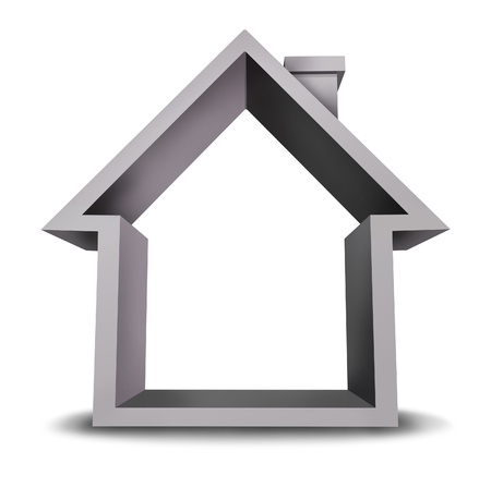 Home icon as with a blank frame on a white background as a symbol of real estate industry and housing mortgage issues for residential properties