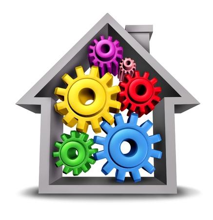 Huisvesting Business en huishoudkunde vertegenwoordigd door een huis-icoon met tandwielen en radertjes in de woning als onroerend goed symbolen van de residentiële bouwsector op een witte achtergrond