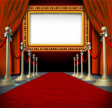 Movie and theatre marquee blank sign with elegant velvet curtains and a red carpet with gold barriers roped off and a billboard in lights as an icon of entertainment and important show announcement