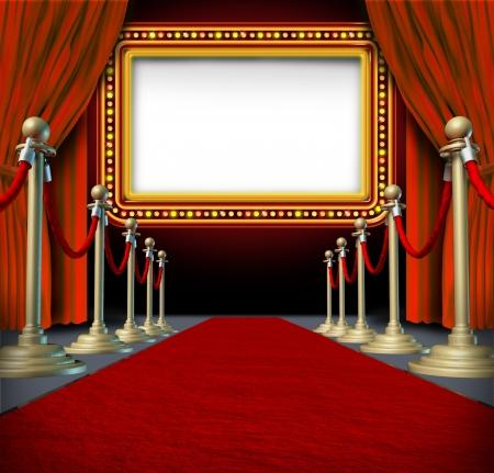 cortinas rojas: Signo de pel�culas y marquesina del teatro en blanco con elegantes cortinas de terciopelo y una alfombra roja con las barreras de oro acordonada y una cartelera en las luces como un icono del entretenimiento y el anuncio importante muestra