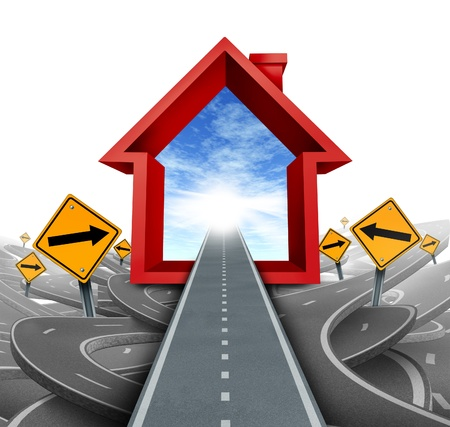mortgages: Real estate services and home buyer advice using a mortgage broker or a housing sales agent to help a family navigate through the confusing options and choices as a home icon in red with confused roads and signs  Stock Photo