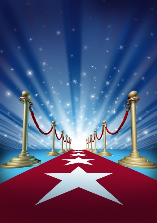 Red carpet to the movie stars with an entertainment theater design background with gold roped barriers and radiating spot lights with shiny sparkles as a symbol of an important event with cinematic and theatrical fun  Stock Photo