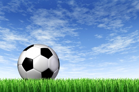 Soccer Ball and grass field background with a blue sky and green european football stadium turf as a concept of fun summer team  leisure sport for players who like to kick a sphere and score a goal in a net Stock Photo - 12882394