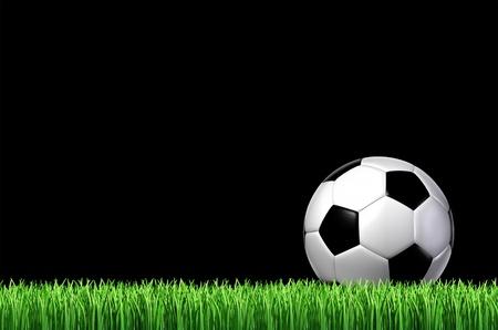 cancha de futbol: equipo de f�tbol el deporte concepto con una pelota de cuero sentado en la hierba lista para un tiro en un negro cielo nocturno como un icono deportivo de un juego divertido y f�sico con equipos deportivos