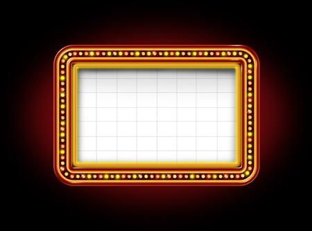 iluminado: Teatro luces de marquesina de neón blanco brillante firmar con el anuncio luminoso cartel para promover y comunicar un mensaje importante a la opinión pública sobre un fondo negro noche Foto de archivo
