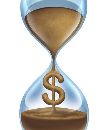 valor: El tiempo es concepto de dinero y el ahorro econ�mico para los negocios y el valor de la administraci�n del dinero con un reloj de arena y la arena en forma de un s�mbolo del d�lar como un icono de la importancia y la urgencia de gastar el dinero y los gastos Foto de archivo