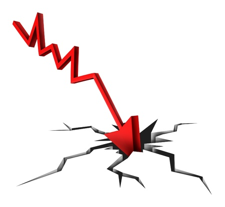 Tough times in business and financial bankruptcy due to economic conditions that cause markets to fall and prices to plummet as a red arrow crashing to a cracked ground on white background  Stockfoto