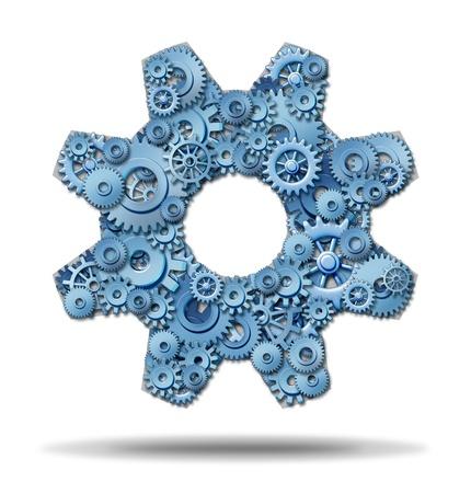 tandwielen: Werken industrie als de handel in een overeenkomst met aangesloten bedrijf leden van een netwerk dat dezelfde gemeenschappelijke doelstellingen en ambities voor verdere vooruitgang op financieel succes met versnellingen en radertjes in de vorm van een groot tandwiel Stockfoto