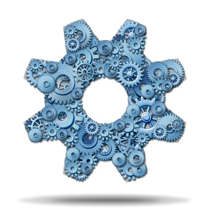 cogs: Working industry as in a trade convention with connected company members of a business network that share the same common goals and aspirations for moving forward to financial success with gears and cogs in the shape of a large gear  Stock Photo