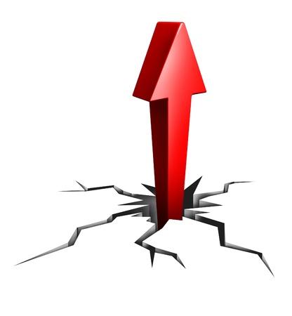 breaking through: Romper con el �xito como un icono comercial y financiero de moverse hacia arriba a las oportunidades y el empleo o la promoci�n de la carrera como un profesional con clara tendencia enfocada como una flecha roja y el piso roto roto Foto de archivo