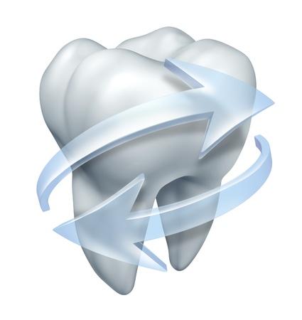 zuby: Čištění zubů zubního lékaře a zubní hygieny symbol s jedním stoličky a transparentních ikon vody šipky clensing a máchání bílý povrch, aby se zabránilo dutiny a onemocnění dásní na bílém pozadí