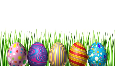Easter holiday eggs decoration with five multi colored festive spring ovals in a row in celebration of a religious and traditional cultural event representing renewal; and an egg hunt for kids fun on a white background with grass Stock Photo - 12882432