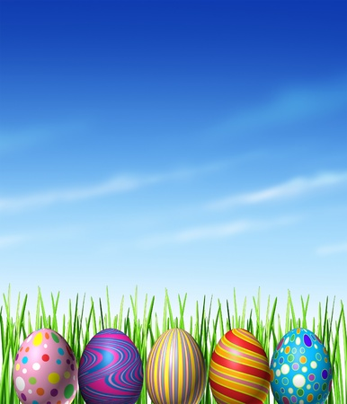 Easter spring decoration with decorated traditionally painted eggs as a cultural and religious celebration of renewal and hope  as a symbol of an egg hunt game for kids with grass and a blue sky design element  Stock Photo - 12882564