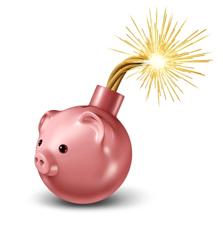 overspending: Economic bomb with a piggy bank in the shape of an iconic bomb with a lit fuse ready to explode into financial and business disaster and savings debt problems caused by overspending and bad budgeting of finances  Stock Photo