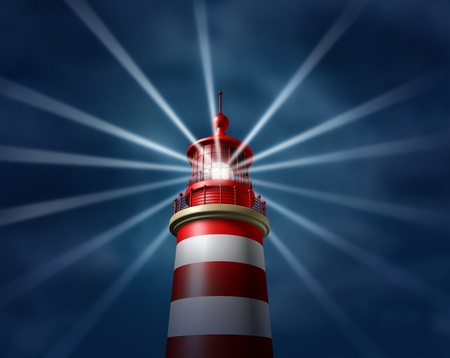 Finding answers and business solutions by searching in all directions putting light on new paths to opportunity and success with a lighthouse searchlight symbol on a illuminating the night sky  Stock Photo - 12882404