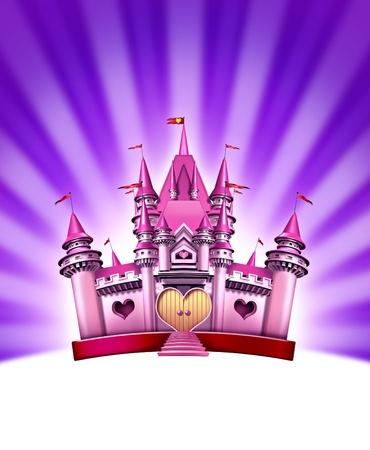 Château fille rose représentant un élégant royaume magique de conte de fées comme une terre jouet fantastique pour les petits de jolies filles et les femmes dans la célébration de l'ajustement d'imagination et d'amusement pour une reine royale de joie de jeune fille sur un fond violet lumière rayonnante