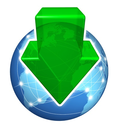 download music: Global digital downloads with a green arrow pointing down and a planet with international connections on a white background as an internet business icon s Stock Photo