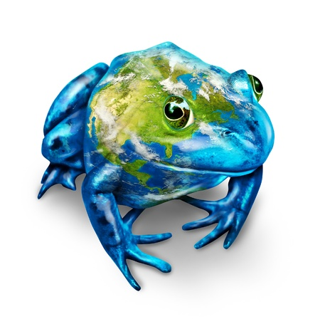 desechos toxicos: Rana Global de la Tierra con un mapa del planeta como un conservationsymbol ambiental para la protección de la naturaleza y todos los seres vivos que están en peligro de extinción debido a la contaminación de desechos tóxicos y sobre un fondo blanco