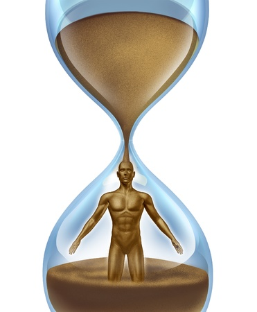 age related: Human aging process,and age related illness as cancer alzhiemer disease and other anatomical medical problems as an hour glass time symbol with sand in the shape of a man falling down in an urgent way on a  white background