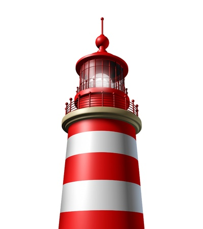 beacons: Lighthouse close up on a white background as a beacon of hope and strategic guidance symbol from the high tower for security and clear direction assistance in planning a journey or business strategy  Stock Photo