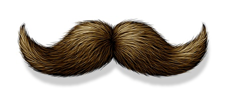 artificial hair: Bigote sobre un fondo blanco con una sombra como un s�mbolo de masculinidad para el cuidado personal masculino como el de la barba triming facial o el pelo del cuerpo para la cara de un hombre Foto de archivo