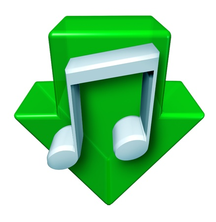 downloading content: Music downloads and downloading digital songs through the internet and computers with a green arrow pointing down with a music note  on a white background as an icon of modern entertainment and fun