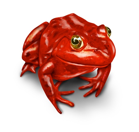 naturalist: Red frog as a symbol of the environment and a rebel that protectects nature from pollution and environmental disasters from human toxic waste on a white background  Stock Photo