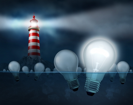 Searching for the best ideas and inventions as business solutions to economic challenges with a light house shinning a beam looking for light bulbs in the water with one illuminated as thewinning concept