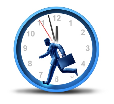 Urgent business deadline with a man in a suit and breifcase running in a clock  Stock Photo