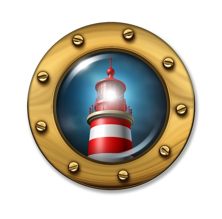 Direction warning symbol with a nautical porthole ship window looking at a glowing light from a lighthouse photo