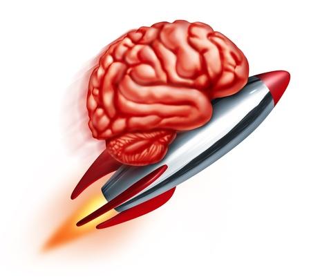 cerebro humano: Educaci�n potencia con un cohete de vuelo Foto de archivo