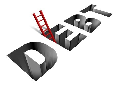 schuld: Financieel herstel en het krijgen van uit de armoede met het woord schuld als een zinkend gat in de grond
