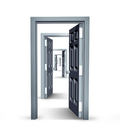 Infinite opportunities business concept with opened doors in an infinity perspective as a financial symbol of future success Stock Photo - 13034056