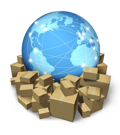 e commerce: International delivery service with a global sphere