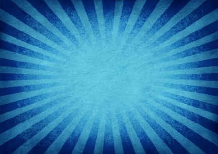 Retro exploding blue star burst or sunbeam background in an old grunge vintage texture as a design element with a blank area