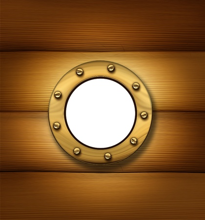 Porthole or ship window on an old wood frame wall as a nautical and marine symbol  photo