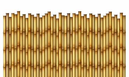 Bamboo Fence as an exotic decorative hot tropical climate design element made with sticks and poles to form a festive asian wall on an isolated white background  Stock Photo
