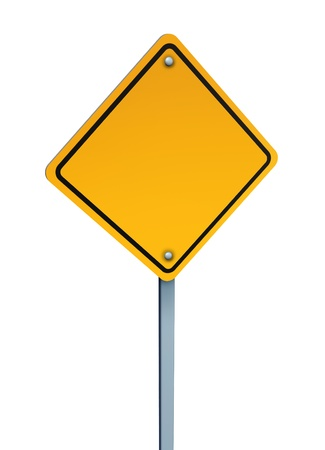 Blank yellow warning sign with a metal pole as a traveling symbol of dangers ahead of a journey and to avoid challenges to direction isolated on a white background  Stock Photo - 13070397