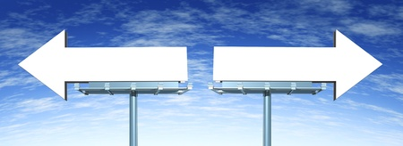 Blank directional billboard signs in the shape of arrows as a symbol of choice in marketing and having a difficult buying decision or dilemma on a blue sky Stock Photo - 13070404