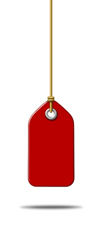 pricetag: Blank red price tag label with a hanging string tied to the paper as a commercial symbol of marketing and advertising a sale or discount on merchandise or services that are on special in a liquidation at a store  Stock Photo