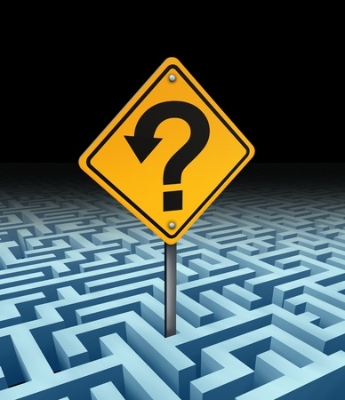 Business support and financial help and guidance through a complicated maze and labyrinth of confusion with a yellow sign and question mark in the shape of an arrow as solutions and answers to work problems