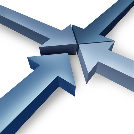 coming together: Business team coming together or partnership joining the team with four dimensional arrows coming together to form a unified organization based on cooperation and trust on a white background  Stock Photo