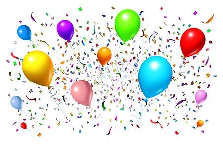 serpentinas: La celebración y el diseño de fiesta con globos de fiesta flotan con confeti y serpentinas como un símbolo de diversión una celebración de cumpleaños o evento de aniversario en un fondo blanco Foto de archivo