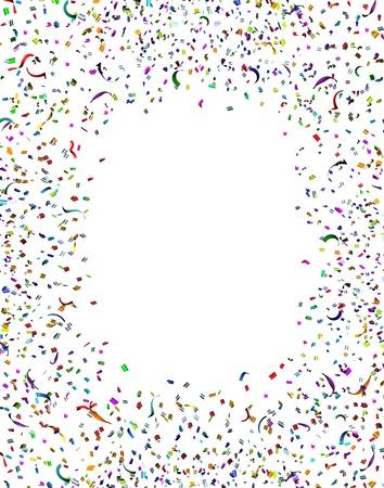 행복한 감정에서 폭발 서로 다른 색의 종이의 무리와 함께 기념일 또는 생일 재미 축제 디자인 요소로 축하 파티 색종이 프레임과 공기의 깃발
